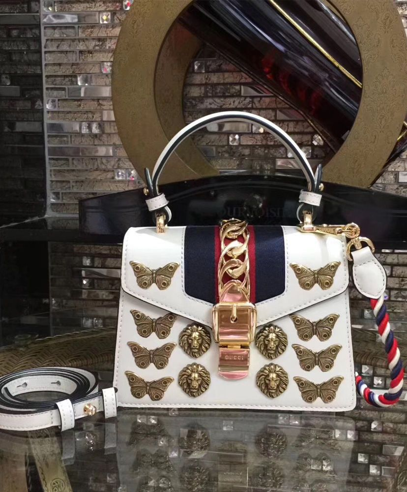 a33577594c44 Gucci Sylvie animal studs leather mini bag 470270