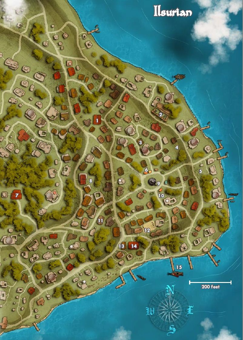 Map of the town of Ilsurian Pathfinder Golarion