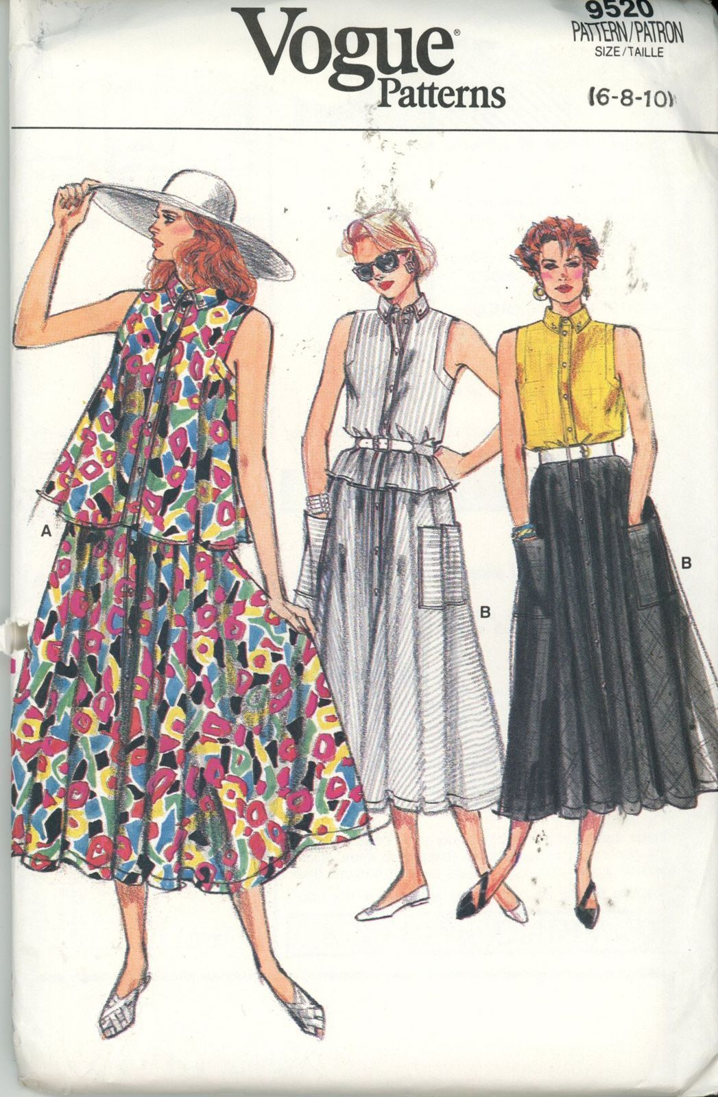 Vogue 9520 Misses Top and Skirt Size 6-8-10 - UNCUT - Sewing Patterns 4191faf31