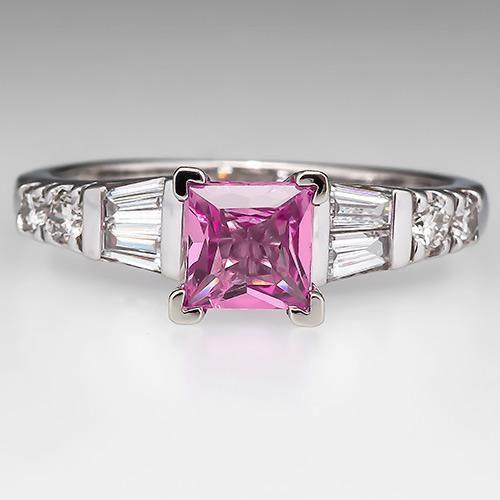 Princess Cut Pink Sapphire Engagement Ring 14K White Gold - EraGem