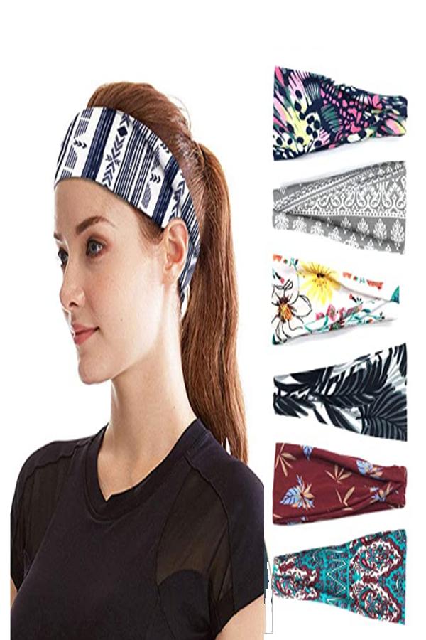 Set 9 PLOVZ 6 Pack Womens Yoga Running Headbands Sports Workout Hair Bands