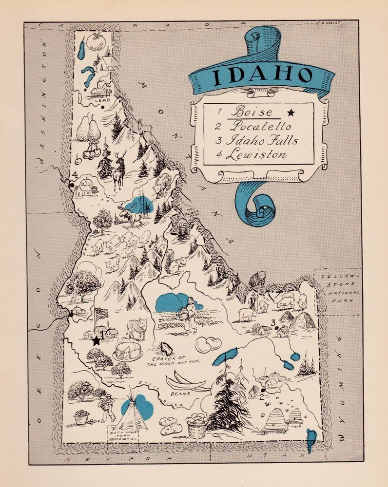 Rare Antique IDAHO Picture Map FUN 1930s Pictorial Map of Idaho