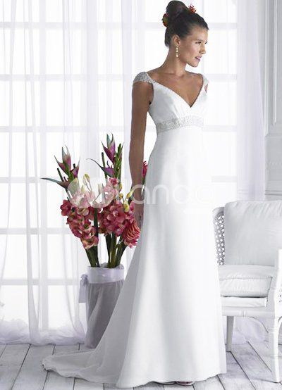 fc58bd3cb05b Elegant Sheath V-Neck Empire Waist Beading Wedding Dress | dresses ...
