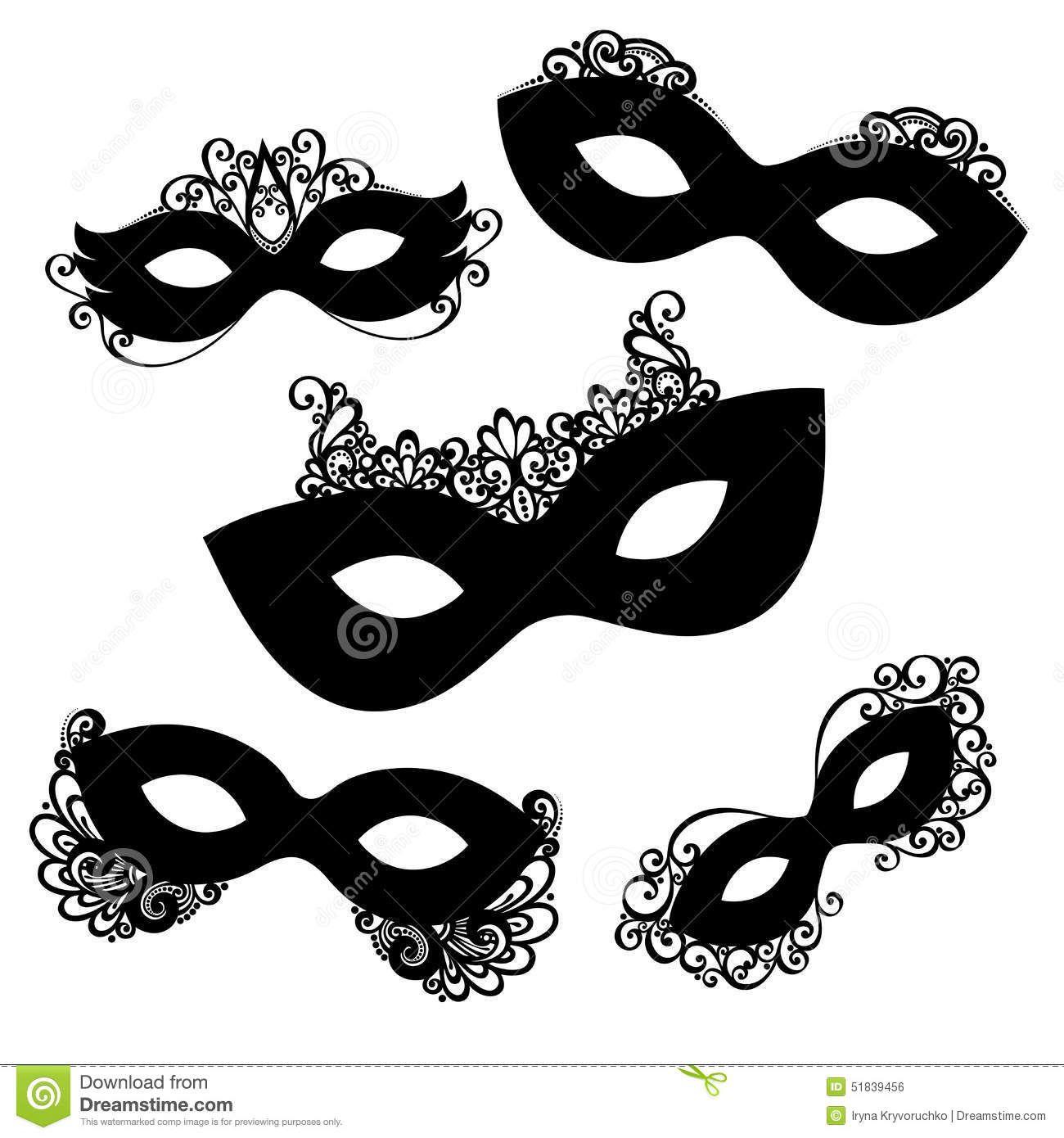 Vector Set Of 5 Ornate Mask Stencils Venetian Carnival Mardi Gras Shrove Tuesday Stock Vector Image 51839456 Carnival Masks Mask Mardi Gras