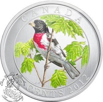 2012 25-CENT COLORED CANADA ROSE-BREASTED GROSBEAK Birds of Canada Box and COA