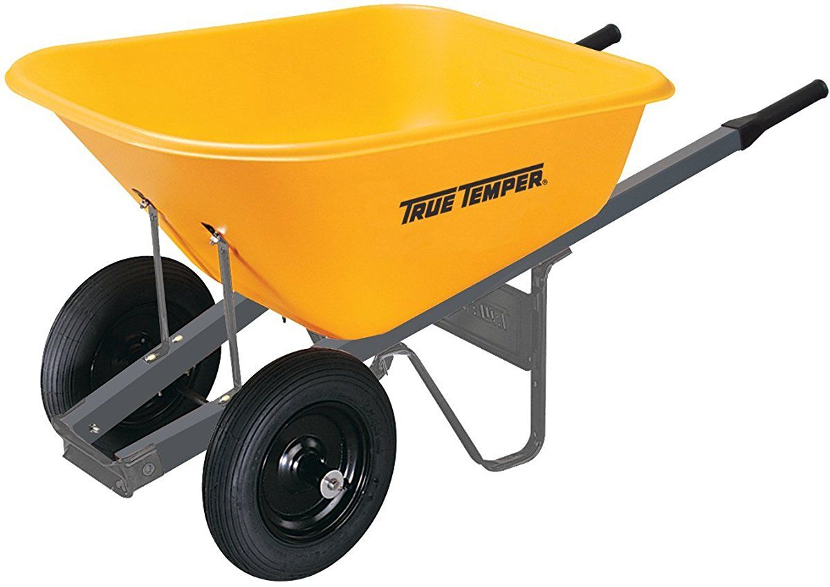 True Temper 6 Cubic Foot Wheelbarrow With Poly Tray And Dual Wheels Rp6dw8 Wheelbarrow Garden Tool Shed Garden Tools