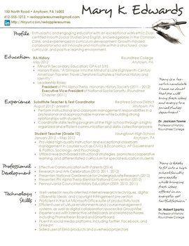 Creative Teacher Resume Handwritten Template Cv For Teaching