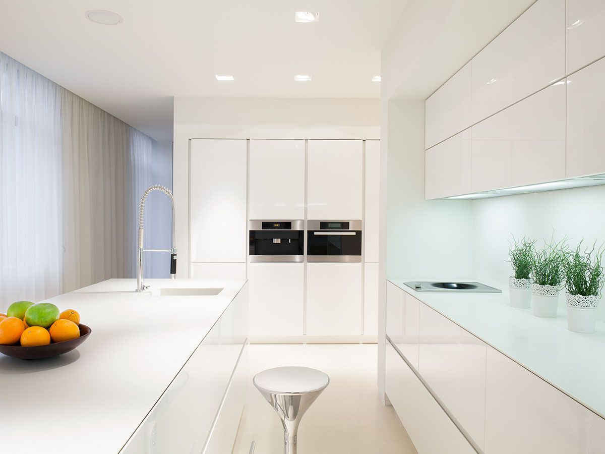 All White Kitchen Cavill Avenue Kitchen Allwhite Island White Glass Splashback