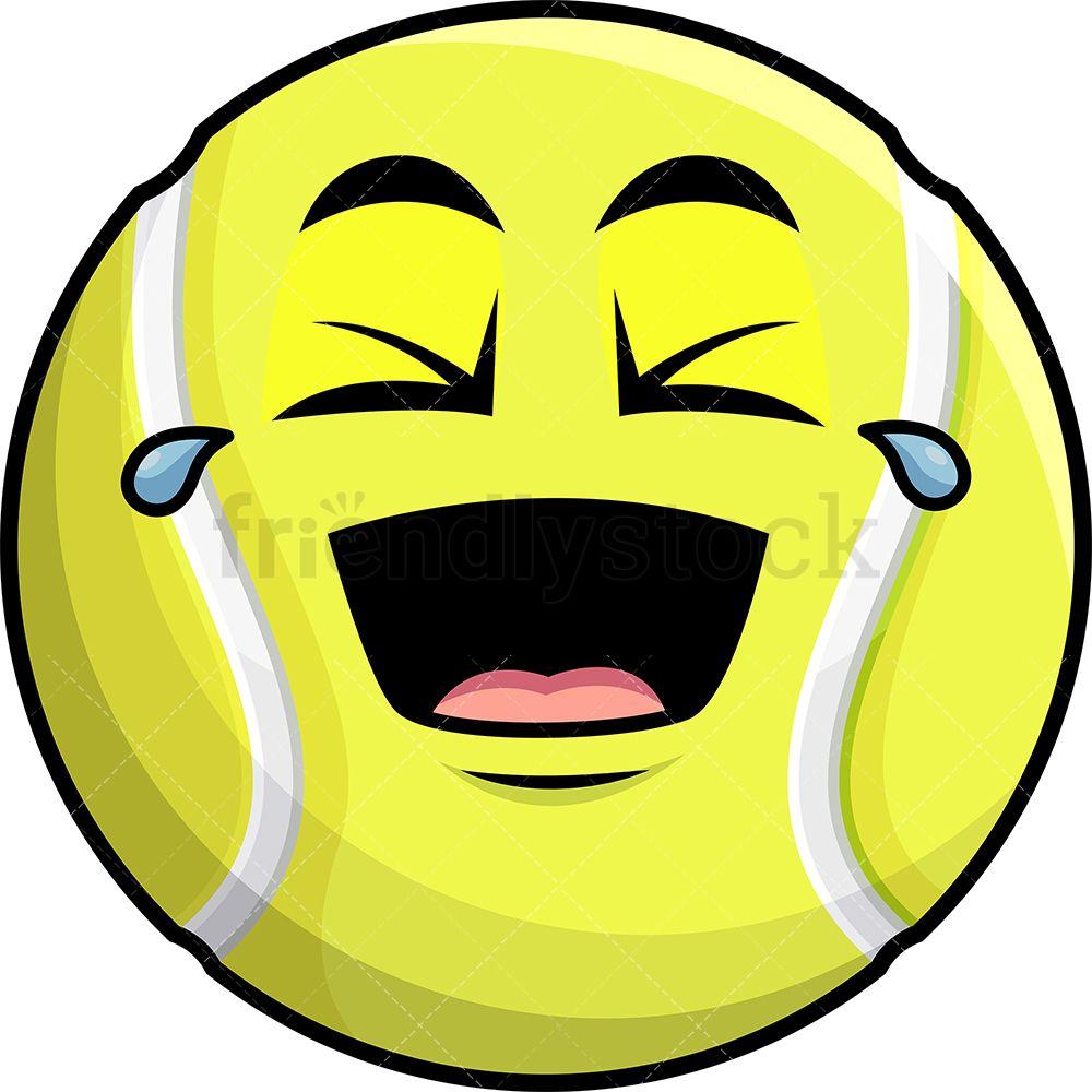 Laughing Lol Tennis Ball Emoji Cartoon Clipart Vector Friendlystock Emoji Cartoon Clip Art Tennis Ball