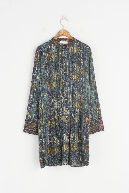 Multi Print China Collar Dress, Green, 100% Polyester
