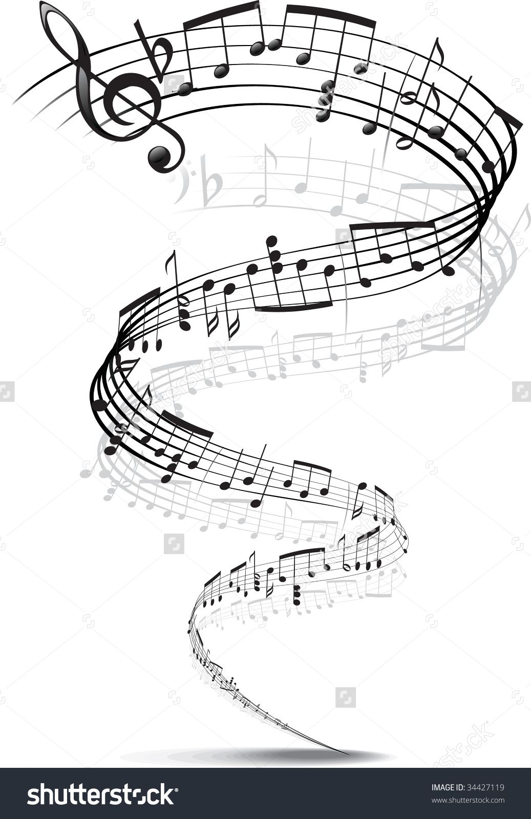 music notes twisted into a spiral music coloring pages for