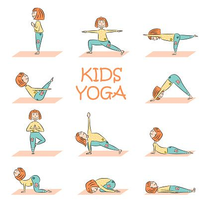 kids yoga set with cute cartoon girl in different yoga