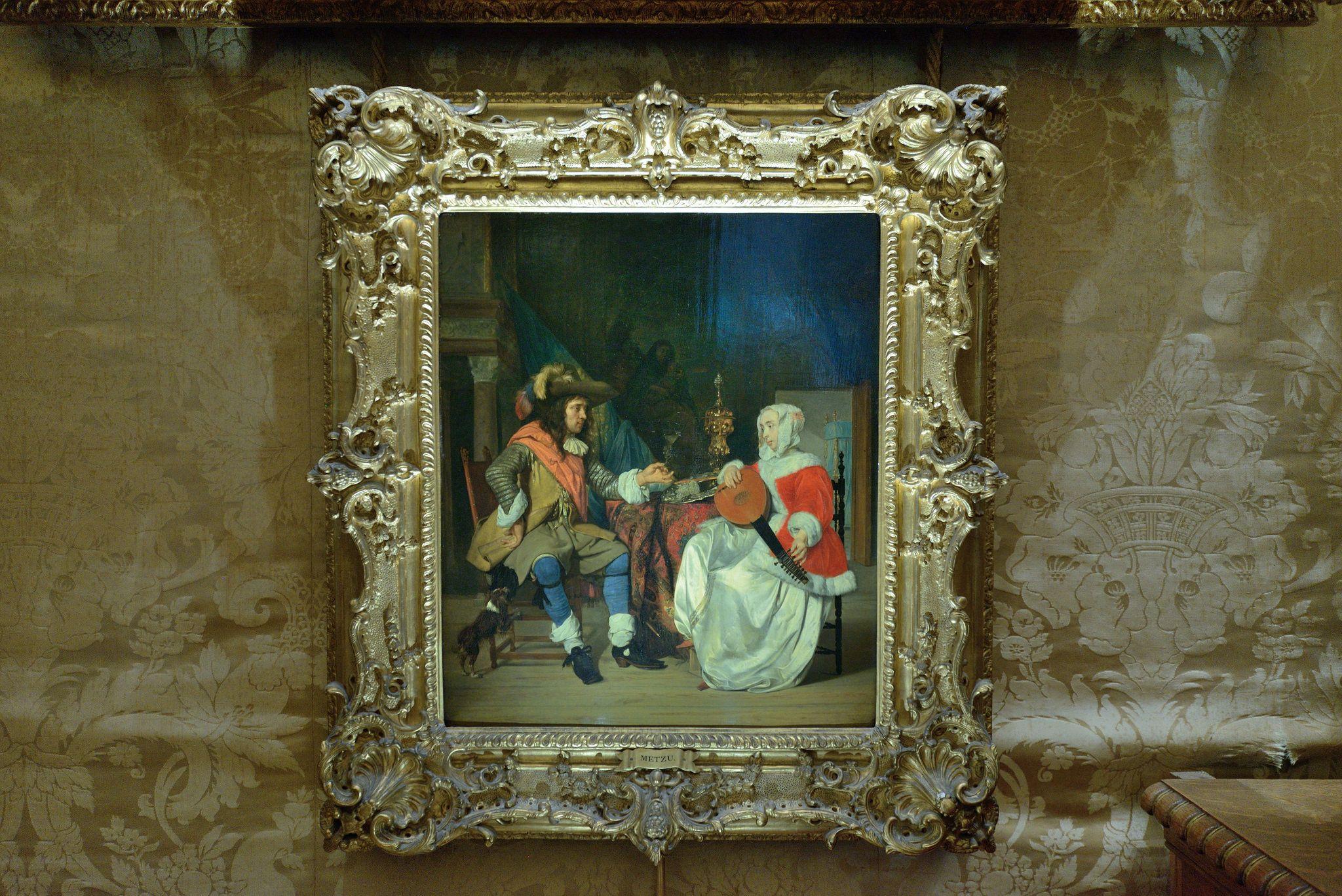 Waddesdon Manor-Buckinghamshire-Morning Room-painting of seated couple by Metzu