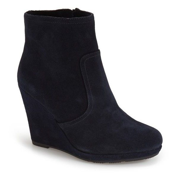 "Vince Camuto 'Abrum' Wedge Bootie, 3 1/2"" heel (€170) ❤ liked on Polyvore featuring shoes, boots, ankle booties, ankle boots, dark navy suede, wedge ankle boots, suede wedge bootie, high heel boots and suede ankle booties"