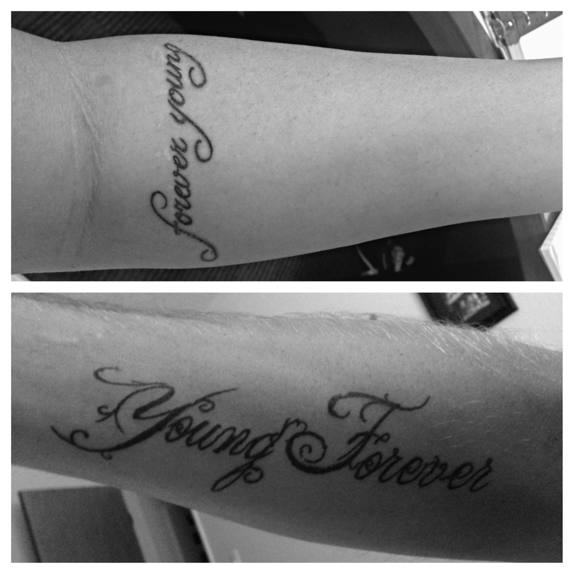 Our couples tattoo forever young our wedding song on for Forever young in japanese tattoo