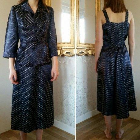 Vintage retro 2 delad dress klänning och jacka blå med vita