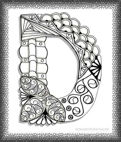 Zentangles Alphabets Google Search Alphabet Illustration Monogram Alphabet Alphabet Coloring Pages
