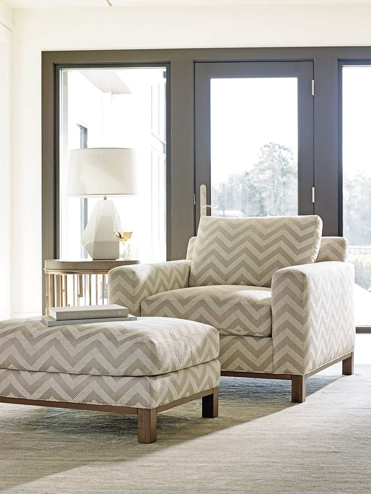 Oversized chair and ottoman with zig-zag geometric pattern ...
