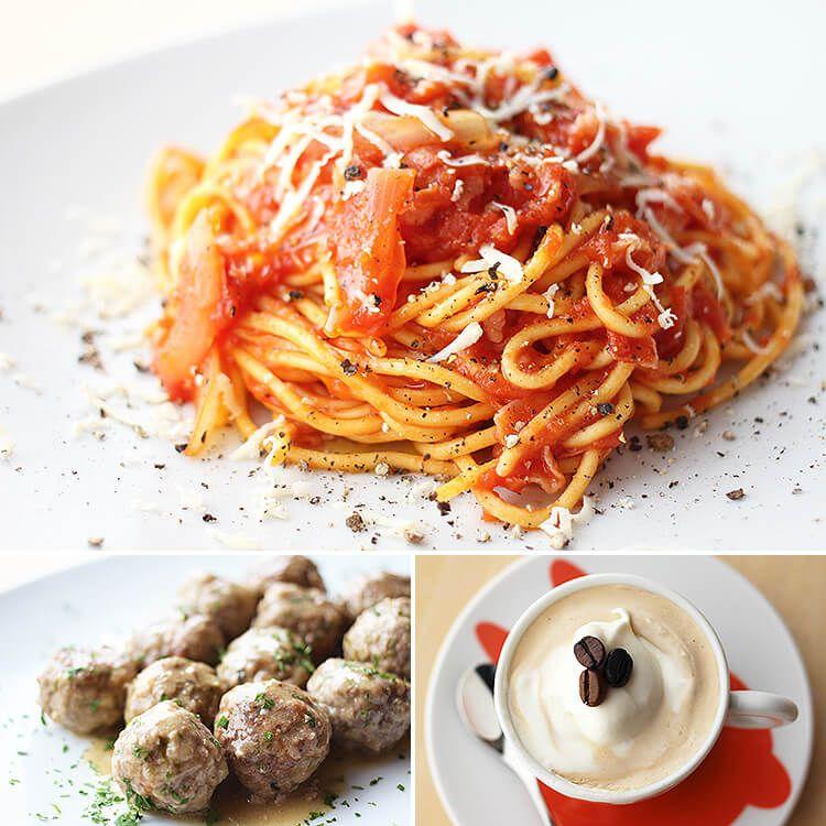 自家製スパゲッティ+フィレンツェ風ミートボール+クレーマ・アル・カッフェ Spaghetti fatti a mano + polpette alla fiorentina + crema al caffe'