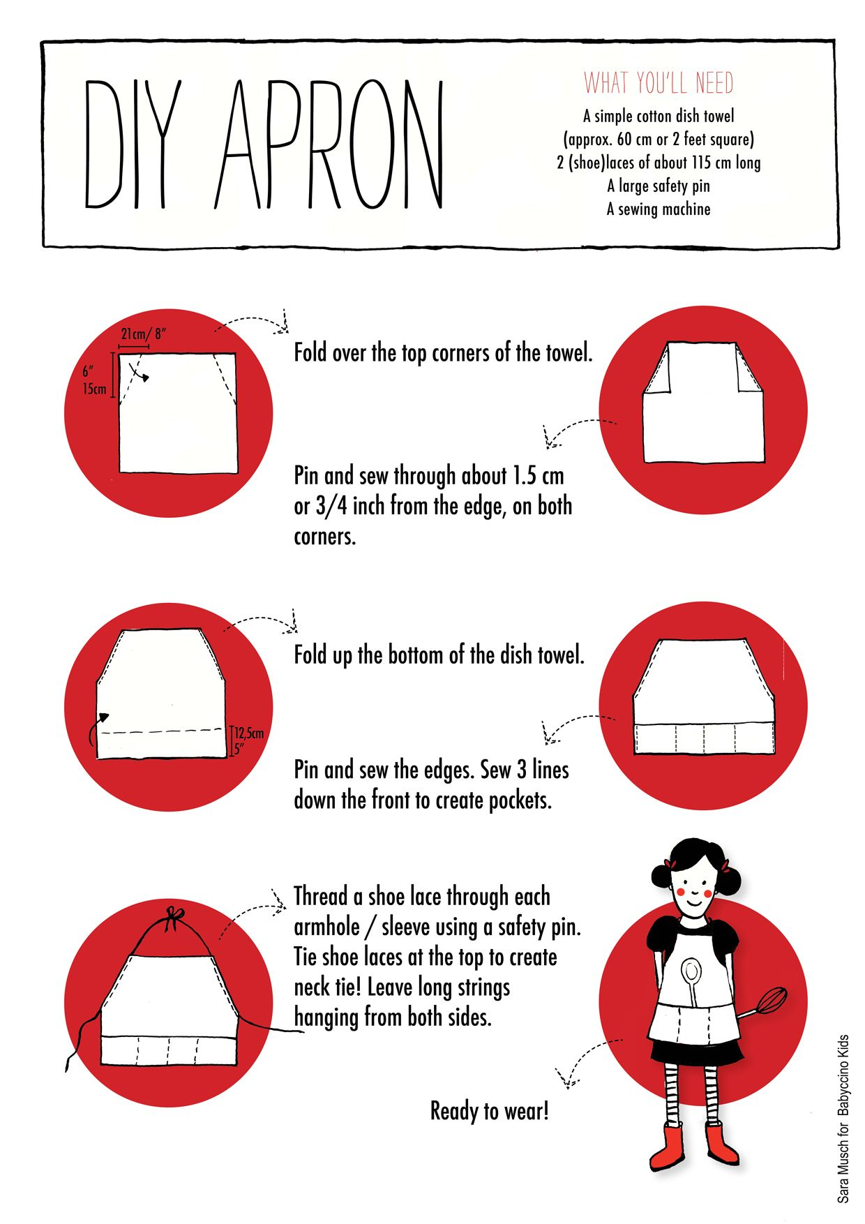 The Little Things... an easy-to-sew child\'s apron made from a dish ...
