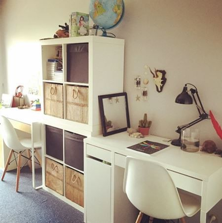 bureau double chambre enfant partag e chambre coucher enfants pinterest bureau double. Black Bedroom Furniture Sets. Home Design Ideas