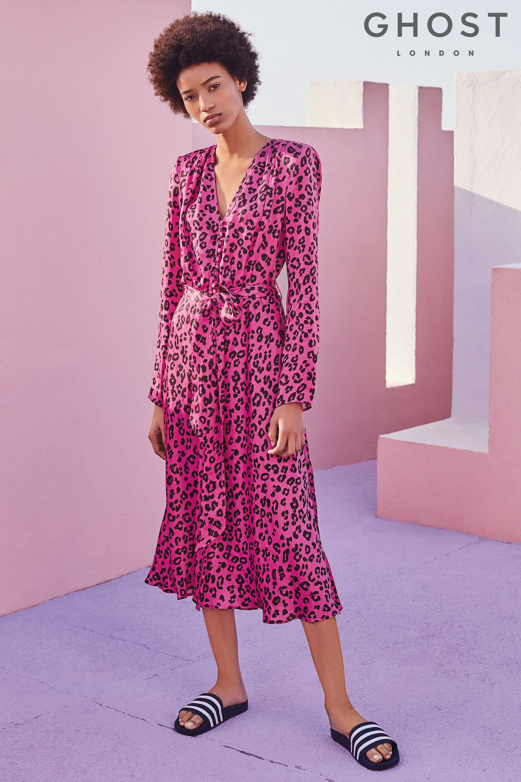 b28ca5168882 Womens Ghost London Pink Cheetah Print Meryl Satin Dress - Pink ...