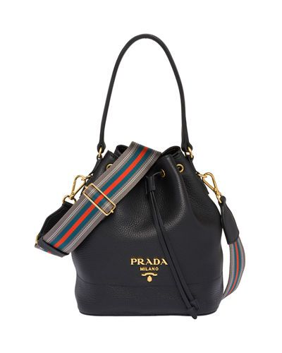 93878baf366c76 PRADA | Daino Top-Handle Bucket Bag with Web Strap | $1,690.00 | Prada  bucket bag in calfskin leather. Fixed top handle with rings.