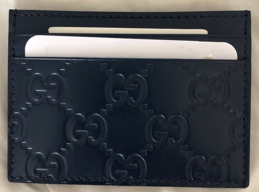 d376a3c5b4c1 Mens Gucci Navy Blue Leather GG Guccissima Monogram Credit Card Case Wallet  #Gucci #CardHolder