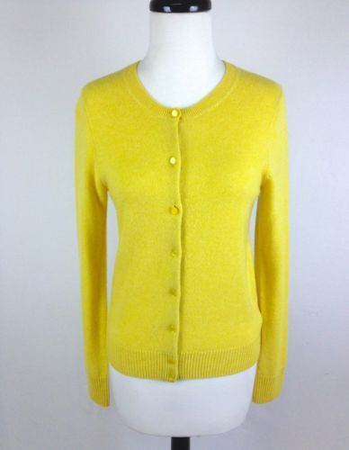 J Crew Sweater Cashmere Knit Yellow Button Up Cardigan Trendy ...