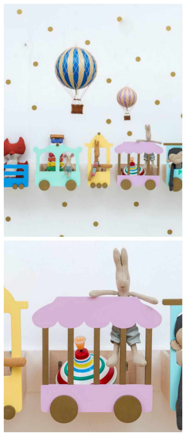 Buntes Regal fürs Kinderzimmer in Form einer Eisenbahn
