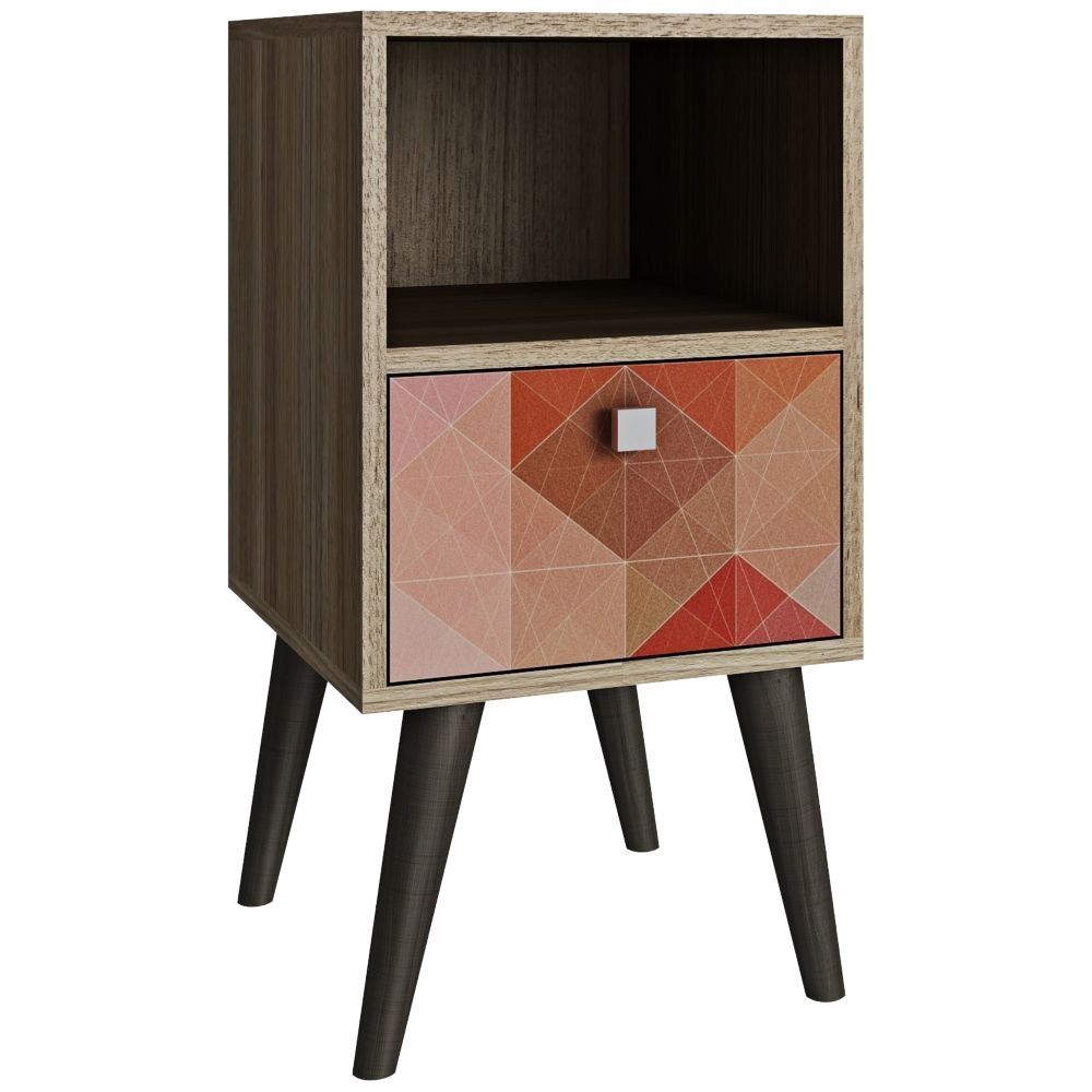 Side table with drawer  Abisko Drawer MultiColor and Oak Frame Side Table  Style  J