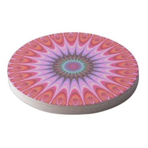 Quadrant mandala round paper coaster $1.45 *** Multicolored fractal star mandala design - coaster