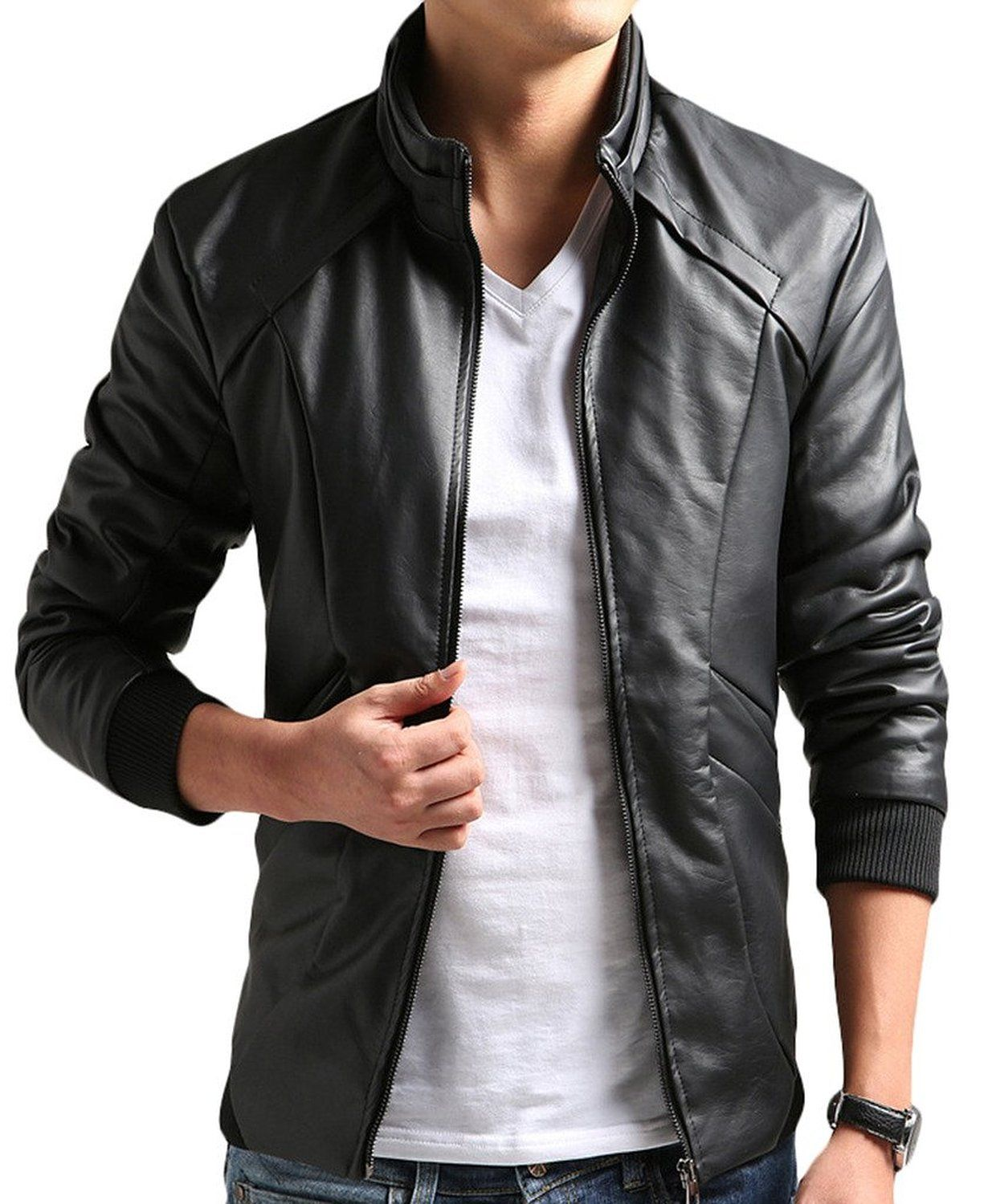 ZSHOW Men's Casual Leisure PU Faux Leather Jacket at