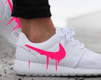 Nike Roshe White with Custom Black Candy Drip Swoosh Paint - Womens size 9.5  is READY to SHIP