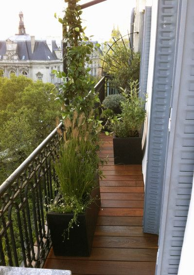 Am nagement d coration balcon filant balcon pinterest - Amenagement petit balcon parisien ...