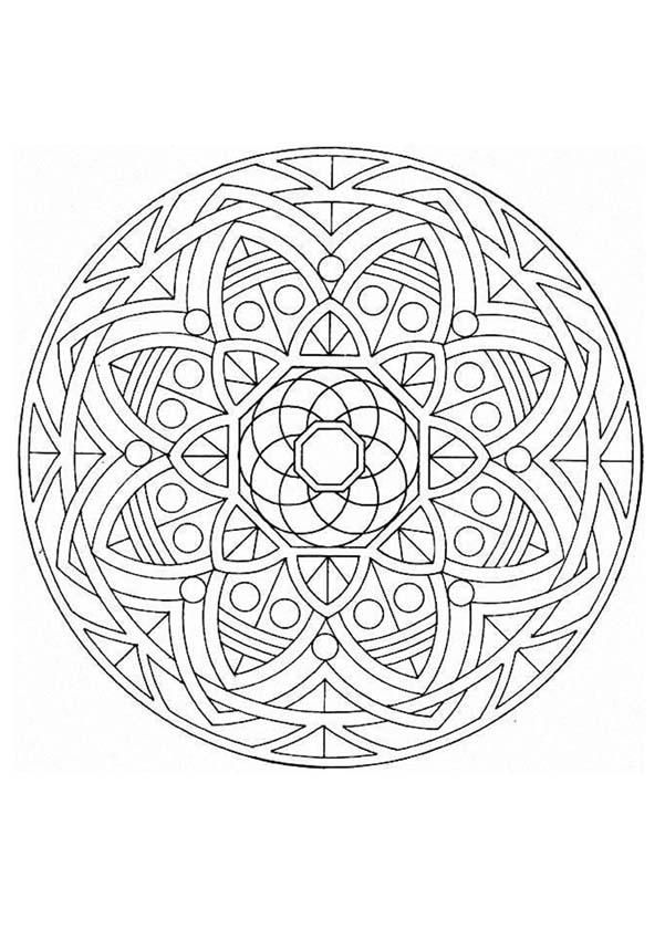 Beautiful Mandala With Big Flowers And Geometric Things Quite Challenging But Very Nice More Mandala Coloring Pages Mandala Coloring Books Cat Coloring Book