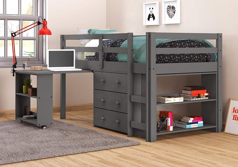 Donco Kids Low Loft With Desk, Chest & Bookcase Low loft