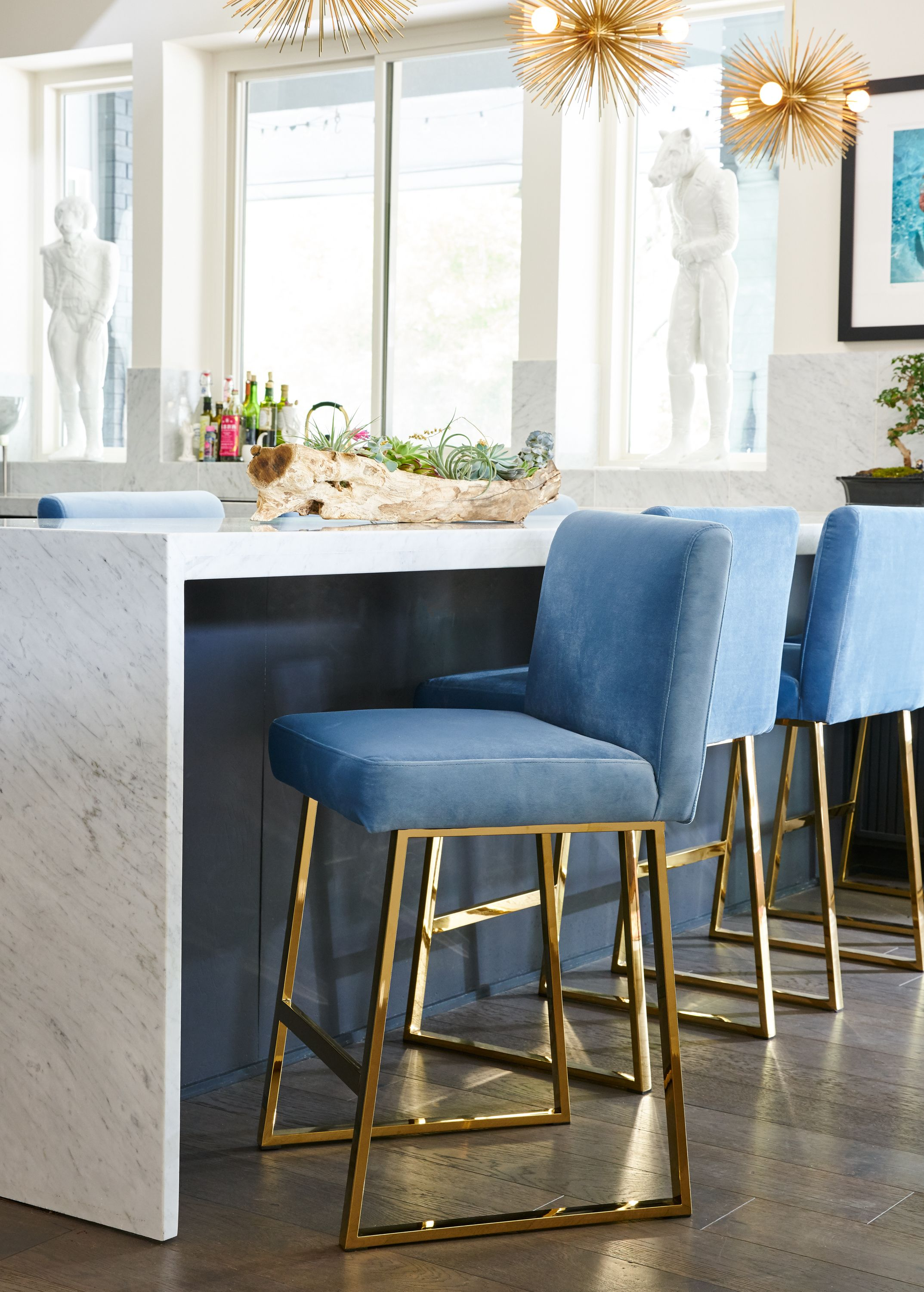Linden Brass Counter Stool In Blue Velvet Modern Kitchen Decor In 2020 Kitchen Decor Modern Wooden Dining Room Chairs Bar Stools Kitchen Island