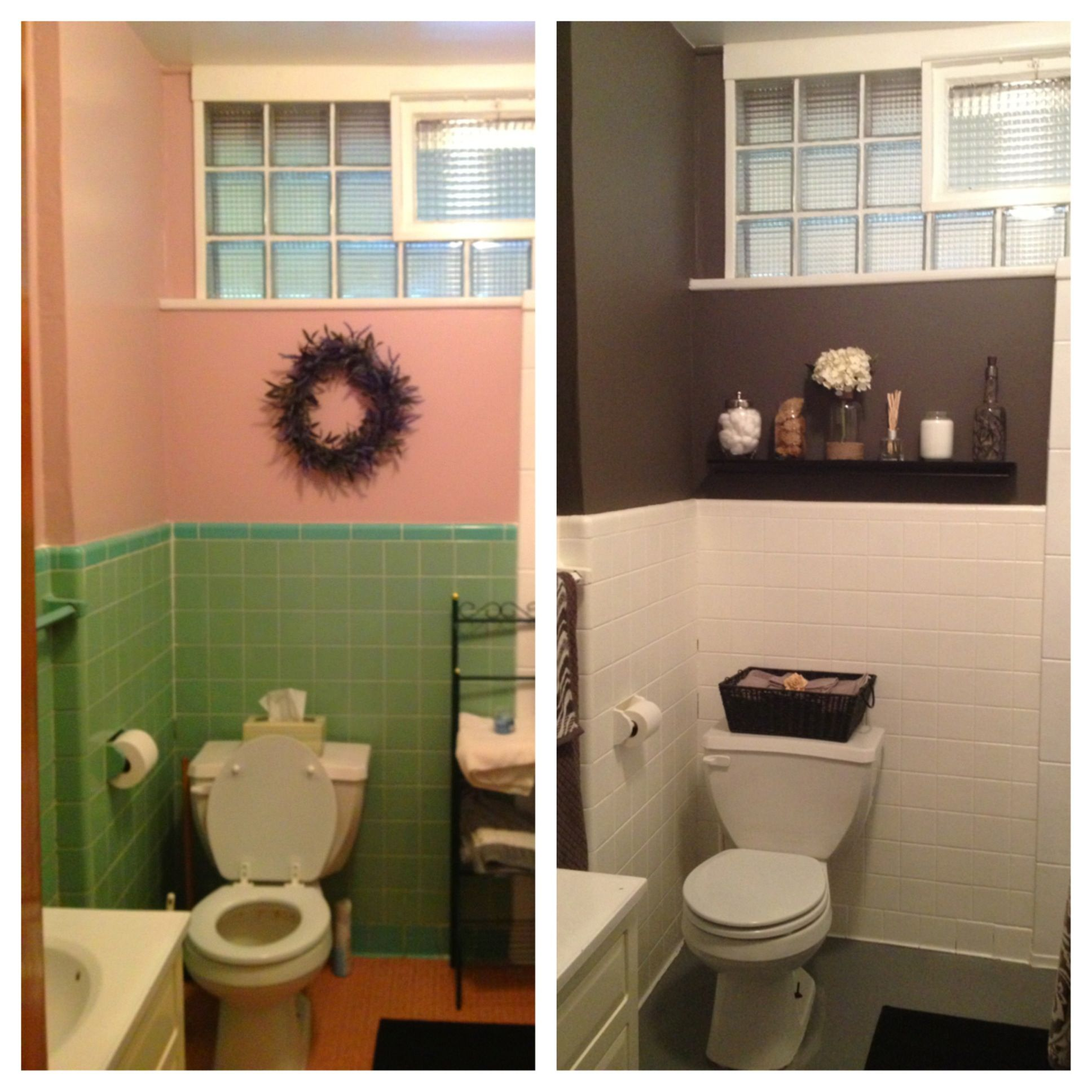 Diy bathroom redo for less than 200 transformed to gray for Paint for tile in bathroom