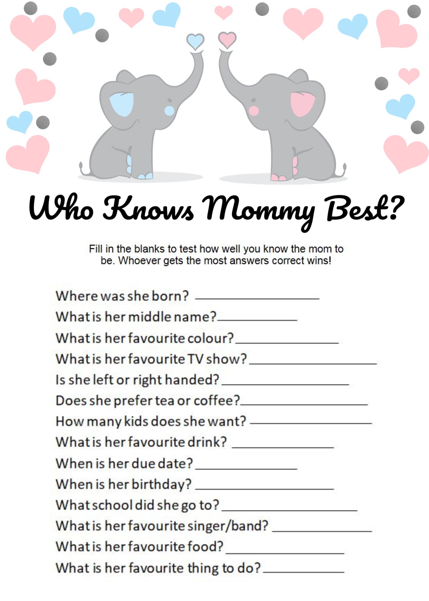 INSTANT DOWNLOAD Digital File Pdf DIY Printable Elephant Baby Shower Game Set Mom and Baby Elephant Girl Baby Shower