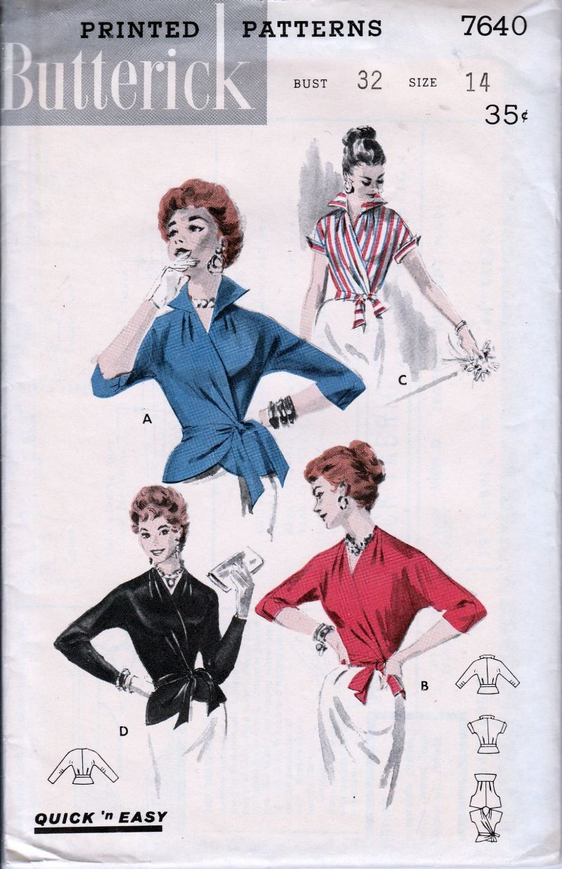 Butterick 7640 Vintage 1950\'s Sewing Pattern Ladies Stylish Wrap ...