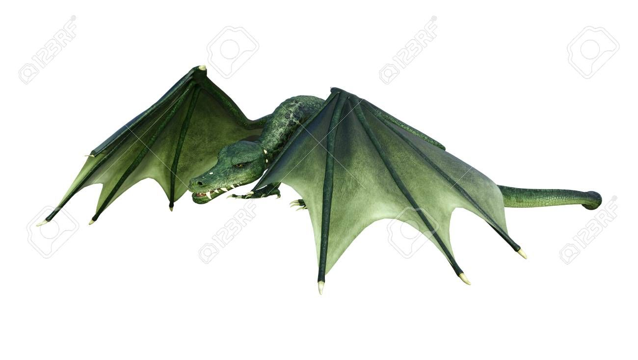 3D rendering of a green fairy tale dragon isolated on white background Stock Photo