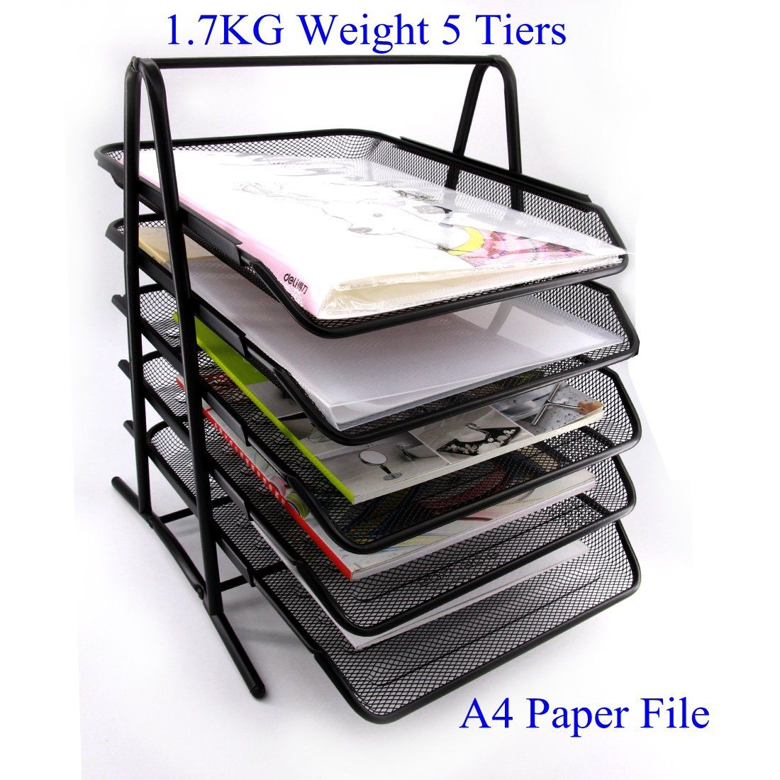 HAODE FASHION 5 Tiers Steel Mesh Document Tray, File Basket, Office ...