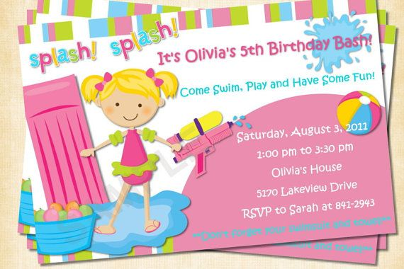 Water Fun Pool Party Custom Birthday Invitation, Photo Invitation - birthday invitation pool party