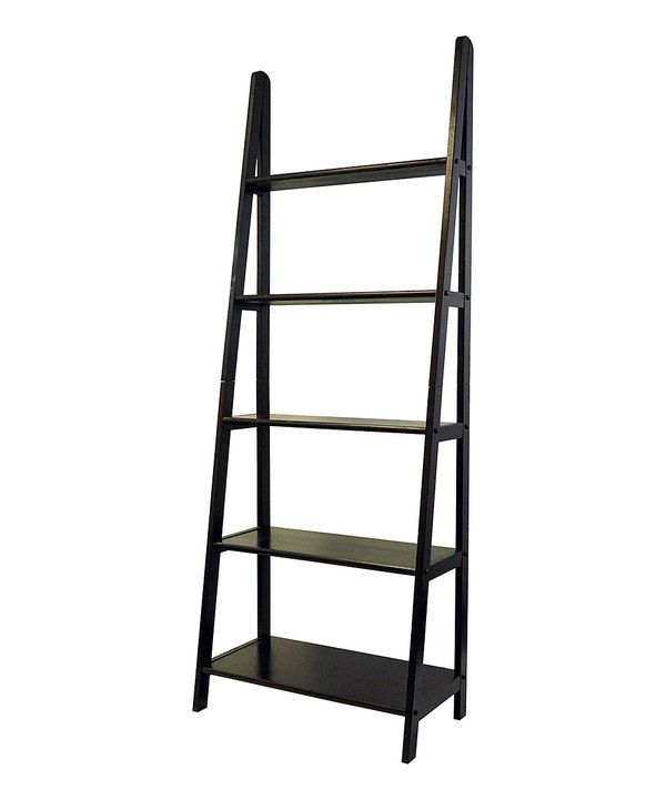 Look at this Espresso Five-Shelf Ladder Bookcase on #zulily today!