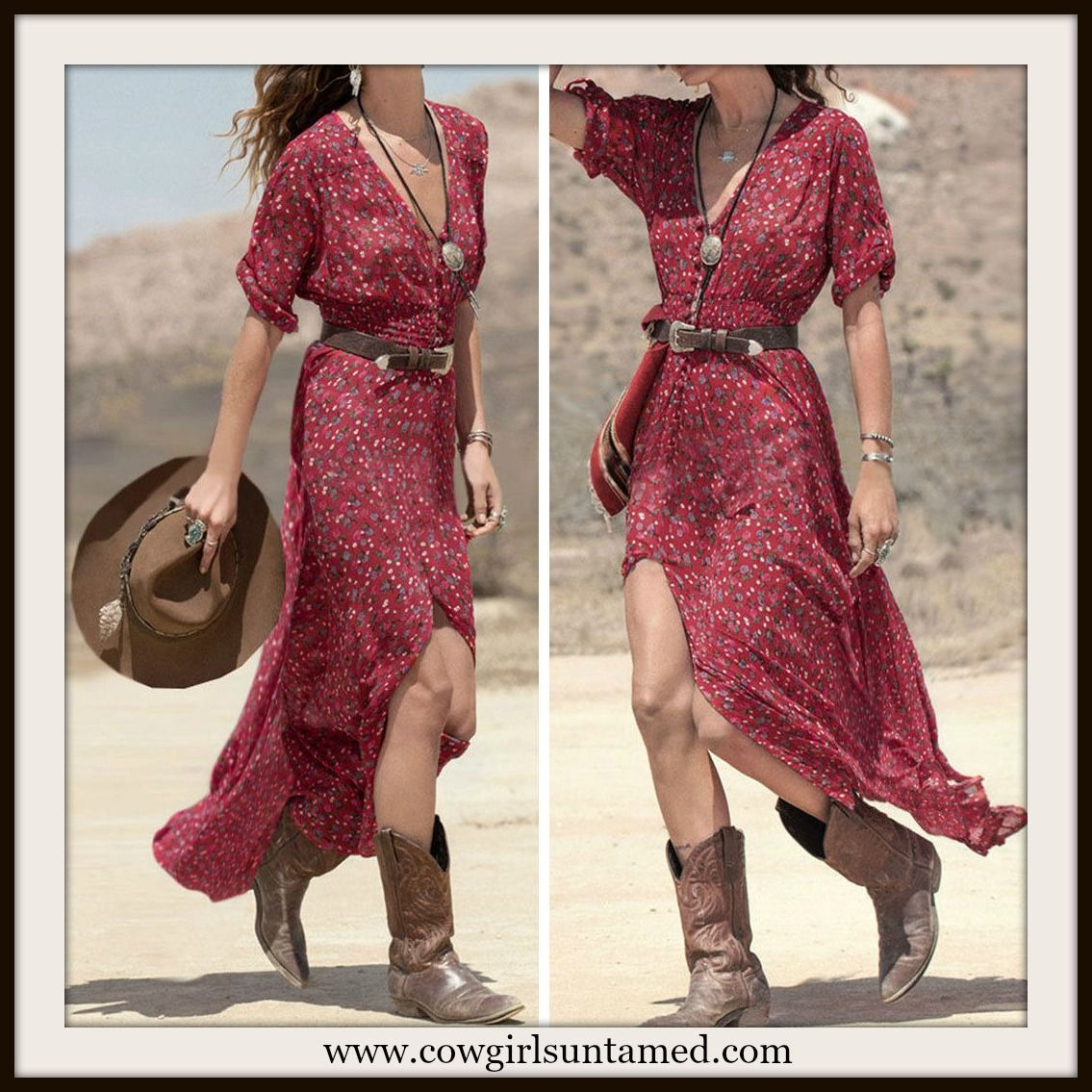 Western Cowgirl Dress Red Floral Button Front Maxi Dress Red Dress Blue Maxi Dress Long Dress Western Dress Boho Dress Cowgirl Dress Wholesale Cowgirl C Cowgirl Dresses Boho Summer Dresses Boho Maxi