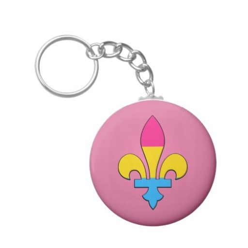 Pansexuality pride fleur-de-lis  Keychain Key Chains