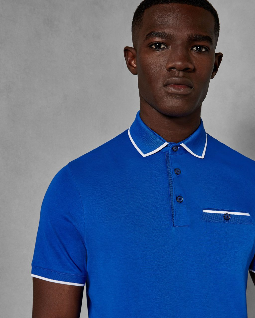 72592f7b7 Flat knit collar cotton polo shirt - Bright Blue
