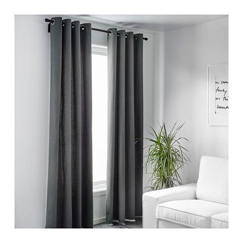 MERETE Gardinenpaar, grau Terrassentür, Ikea und Fenster - vorhange wohnzimmer grau