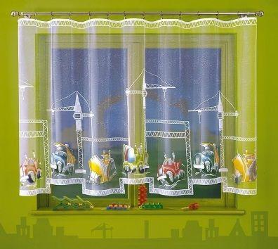 Firanka z motywem budowy Piękna firanka ręcznie malowana z motywem budowy.  Idealna do pokoju młodego fana koparek, dużych samochodów i dźwigów.    Rozmiar:  wysokość: 150 cm szerokość: dowolna  Firanka dostępna w metrażu, cena dotyczy 1 mb tkaniny.   Szyjemy także na wymiar firanki. Dostępna na stronie: kasandra.com.pl